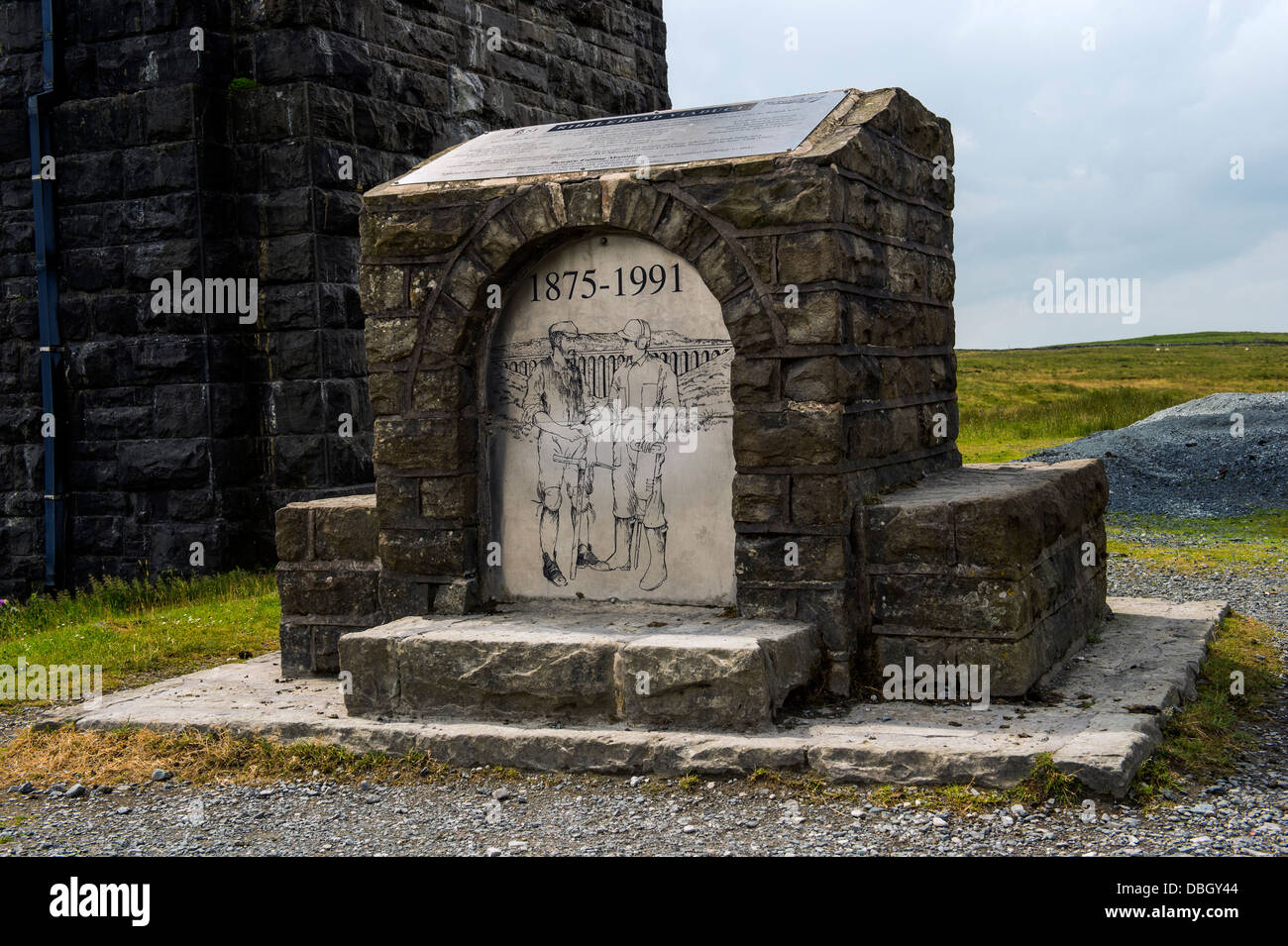 Commemorative stone to the Building of the Ribblehead Viaduct. - Stock Image