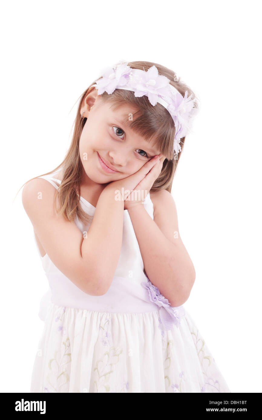 Portrait of cute smiling little girl - Stock Image