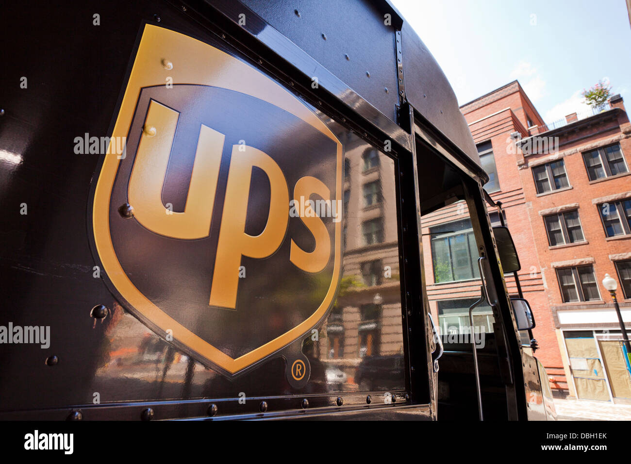 UPS logo on delivery truck - USA - Stock Image