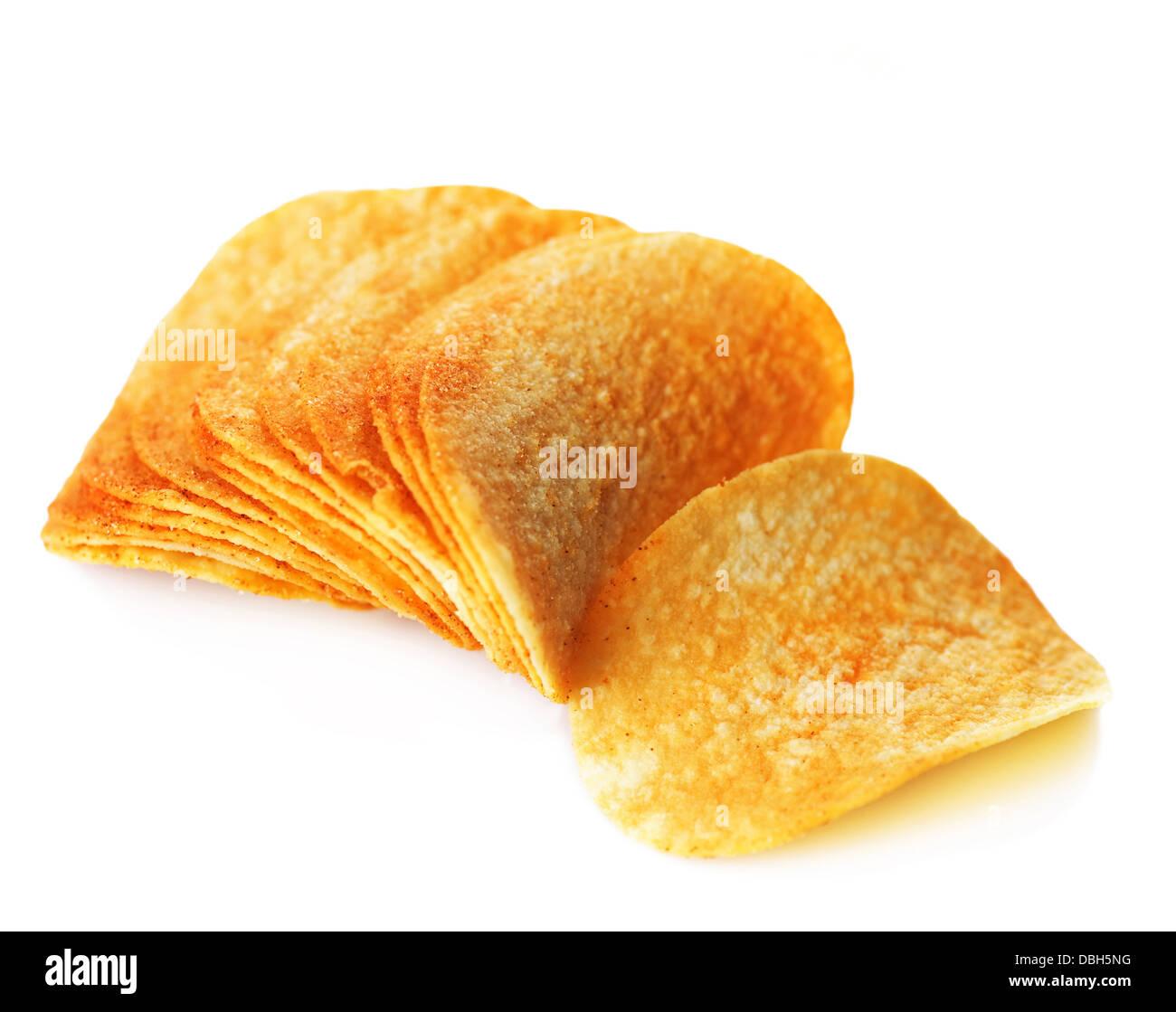 Potato Chips Over White - Stock Image
