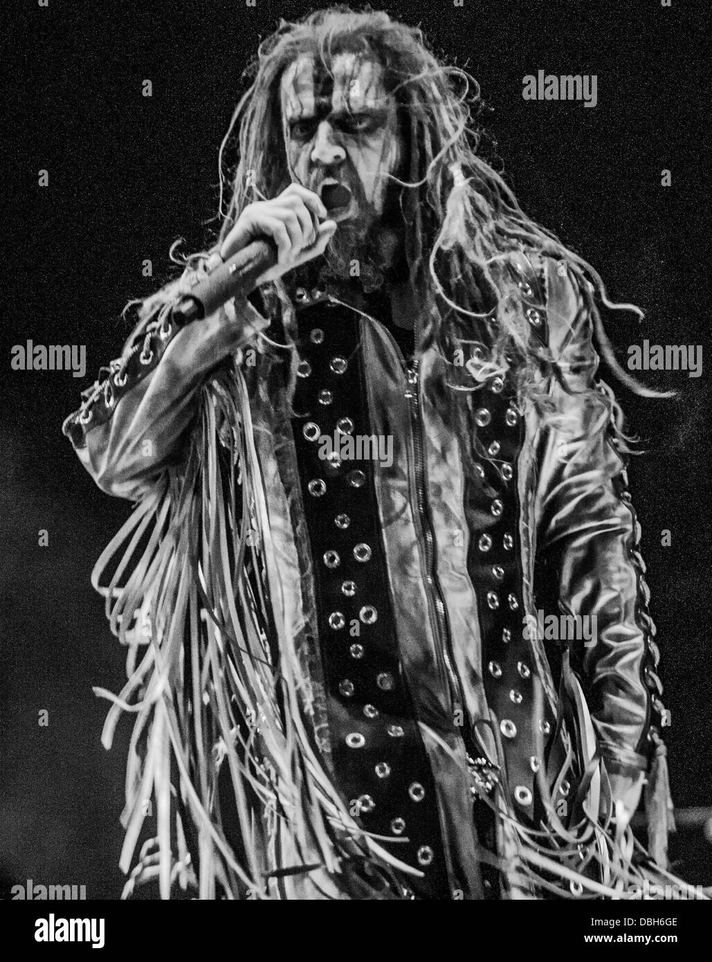 Heavy Metal horror band Rob Zombie performing live at Mayhem Fest 2013. Rob Zombie is the name of both the front - Stock Image