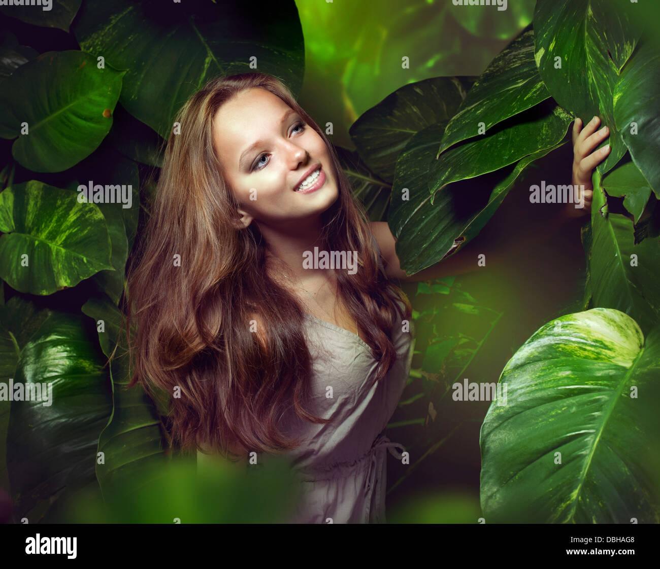 Beautiful Girl in Jungle - Stock Image