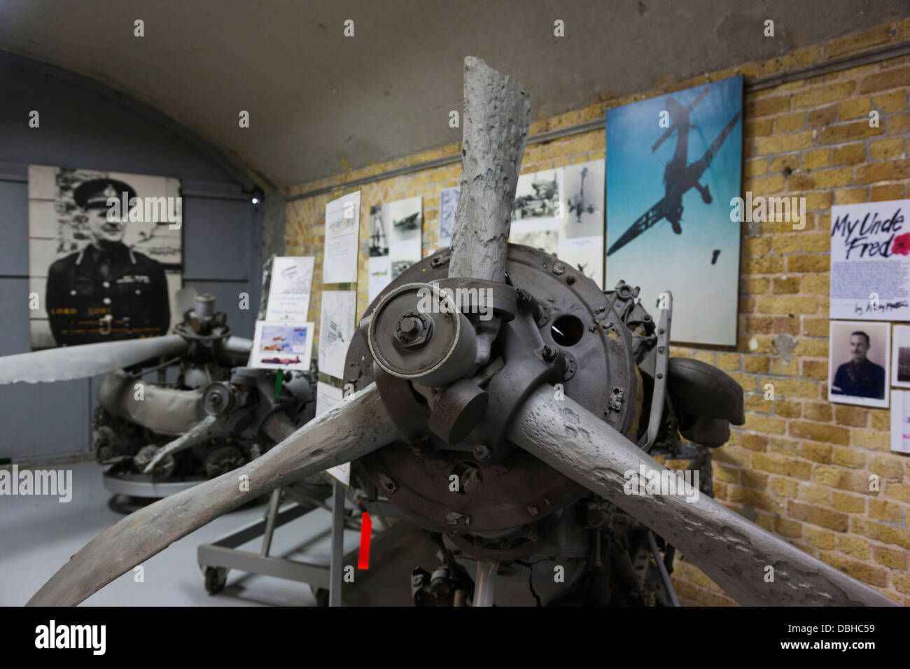 France, Nord, Dunkerque, Memorial du Souvenir, War Memorial Museum, wrecked aircraft engines from the Battle of - Stock Image