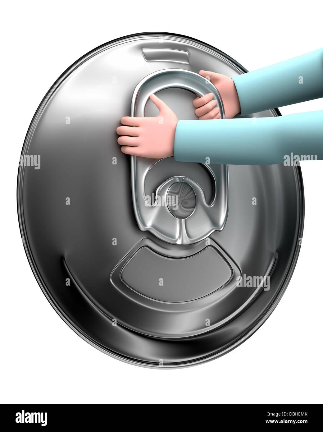 Easy open handle - stay-tab - Stock Image