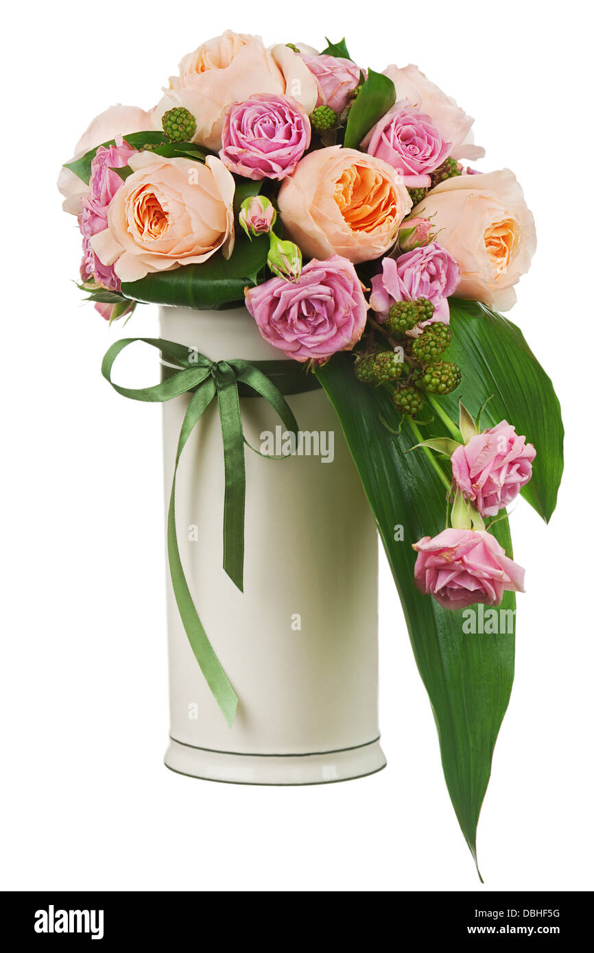 Colorful flower bouquet from roses and peon flowers in vase isolated ...