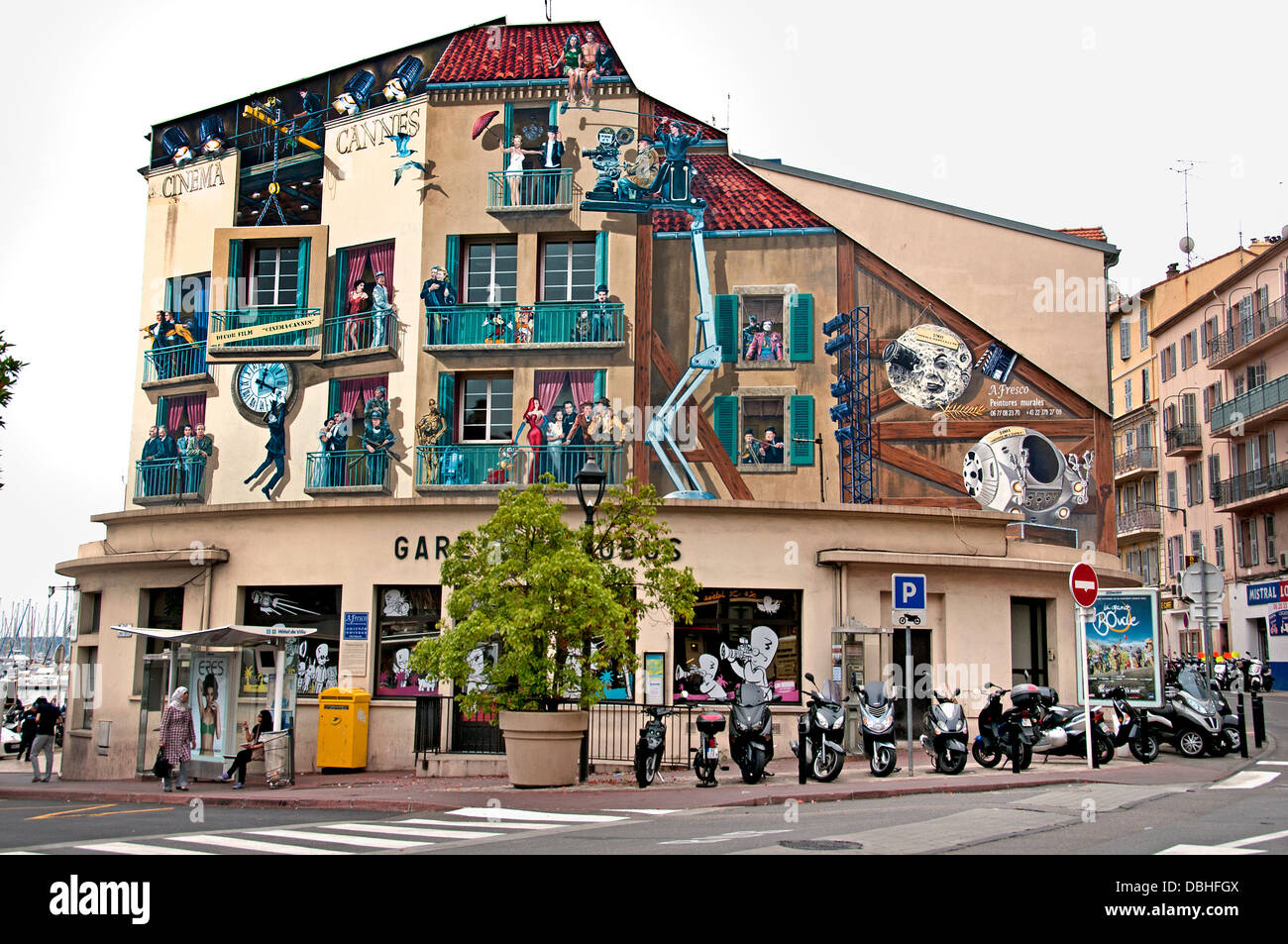 Movie Film Festival Of Cannes Wall Painting in Old Vieux Port French Riviera Cote D'Azur France - Stock Image
