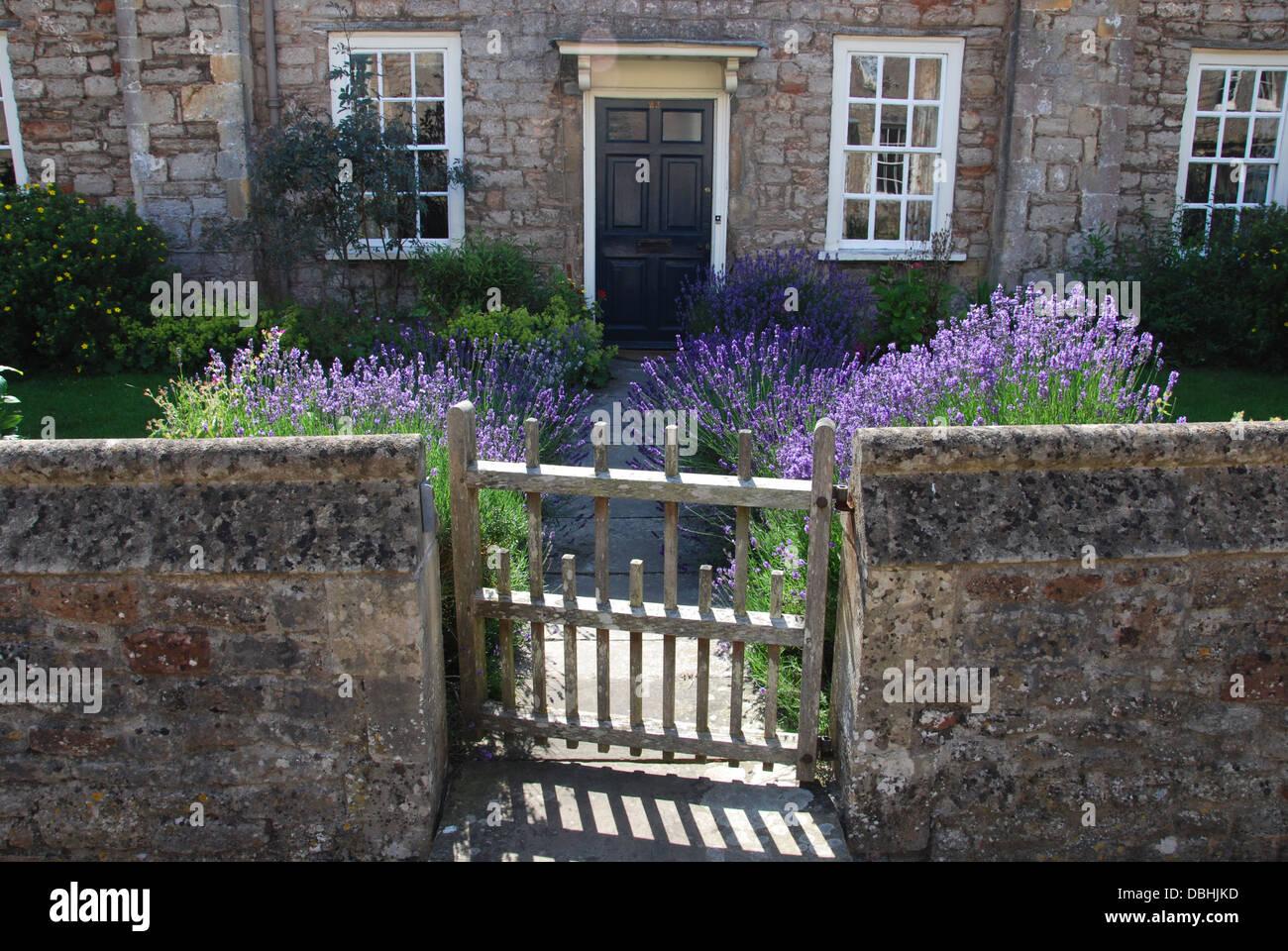 front door in Vicar's Close, Wells United Kingdom - Stock Image