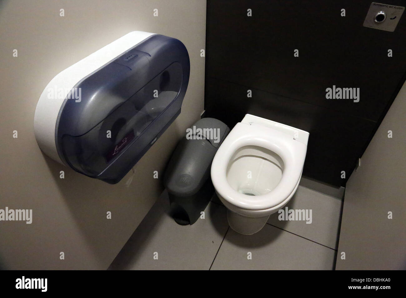 Public Toilet With Automatic Flush At Motorway Service Station England - Stock Image