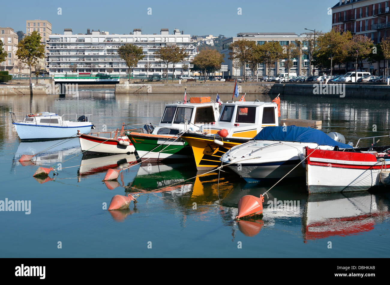 Little boats in the port of Le Havre, commune in the Seine-Maritime department in the Haute-Normandie region in - Stock Image