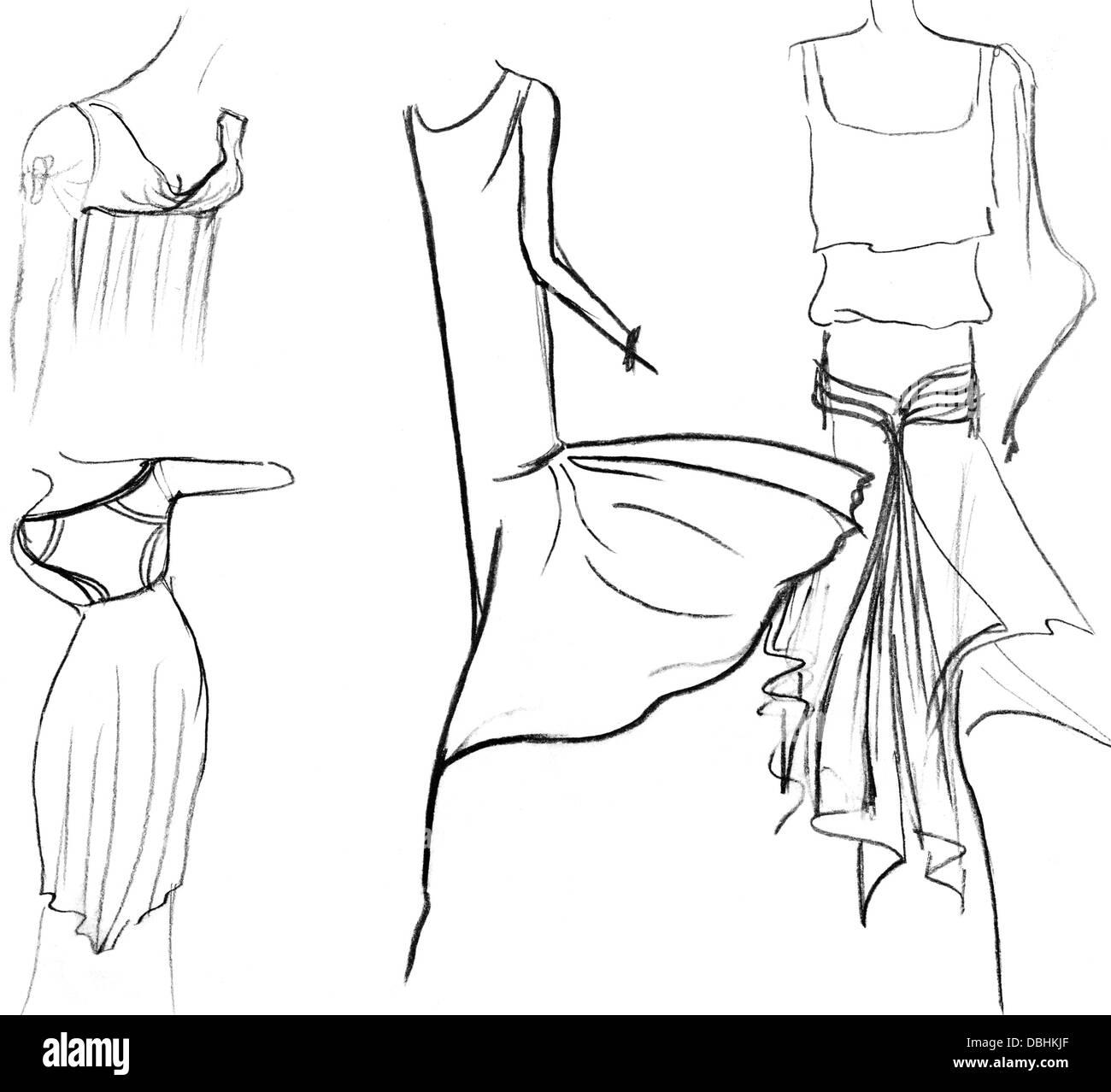 sketch of fashion model - skirts of women summer dresses - Stock Image