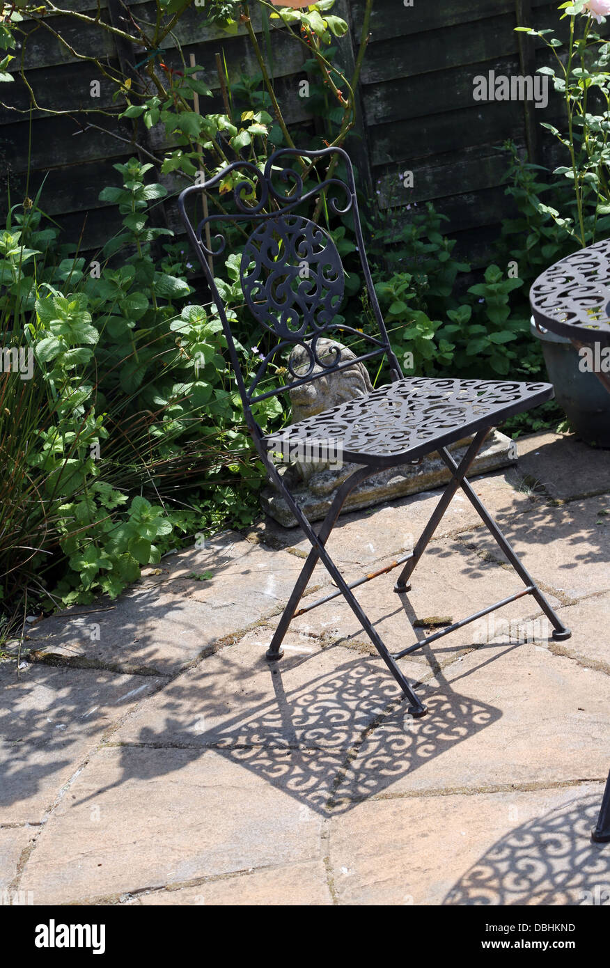 wrought iron garden furniture. Wrought Iron Garden Chair And Shadow Birmingham West Midlands England - Stock Image Furniture O