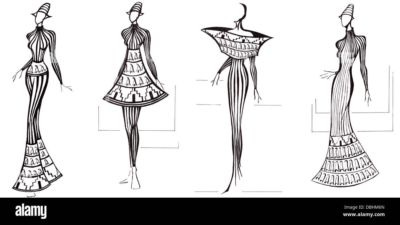 sketch of fashion model design of dresses based on