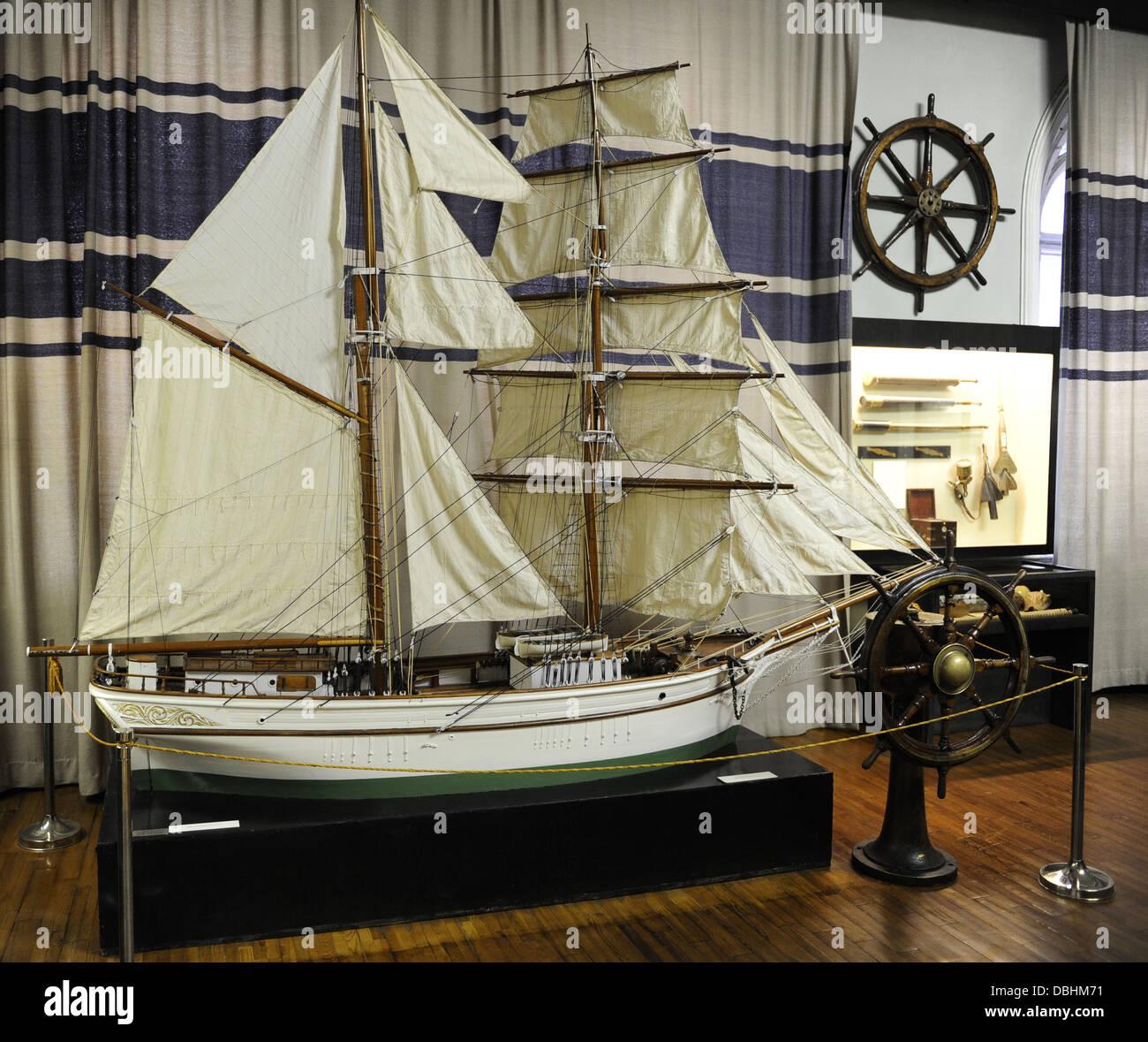 Room dedicated to navigation. Boat model. Museum of History and Navigation. Inside. Riga. Latvia. - Stock Image