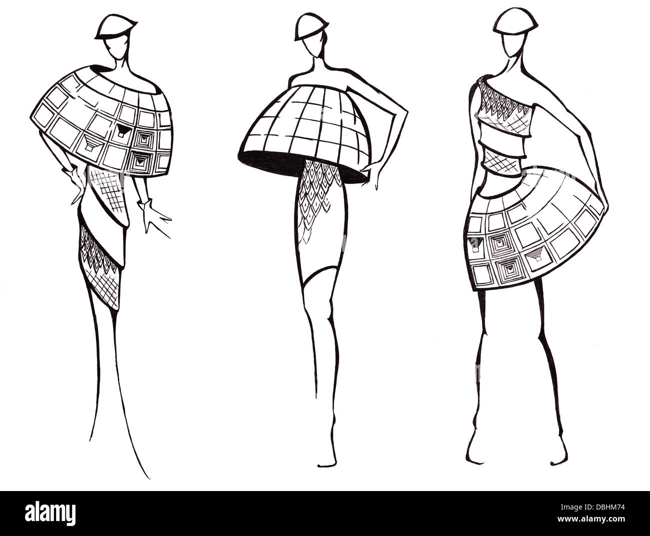 sketch of fashion model - design of dresses based on architecture dome - Stock Image