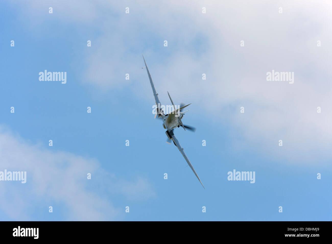 Vickers Supermarine Spitfire Mk LFIXe UF-Q MK356 in flight over Breighton Airfield - Stock Image