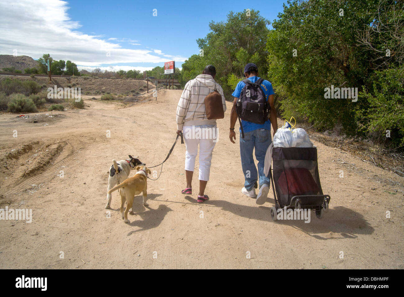 A homeless African-American man carries charitable donations in a handcart - Stock Image
