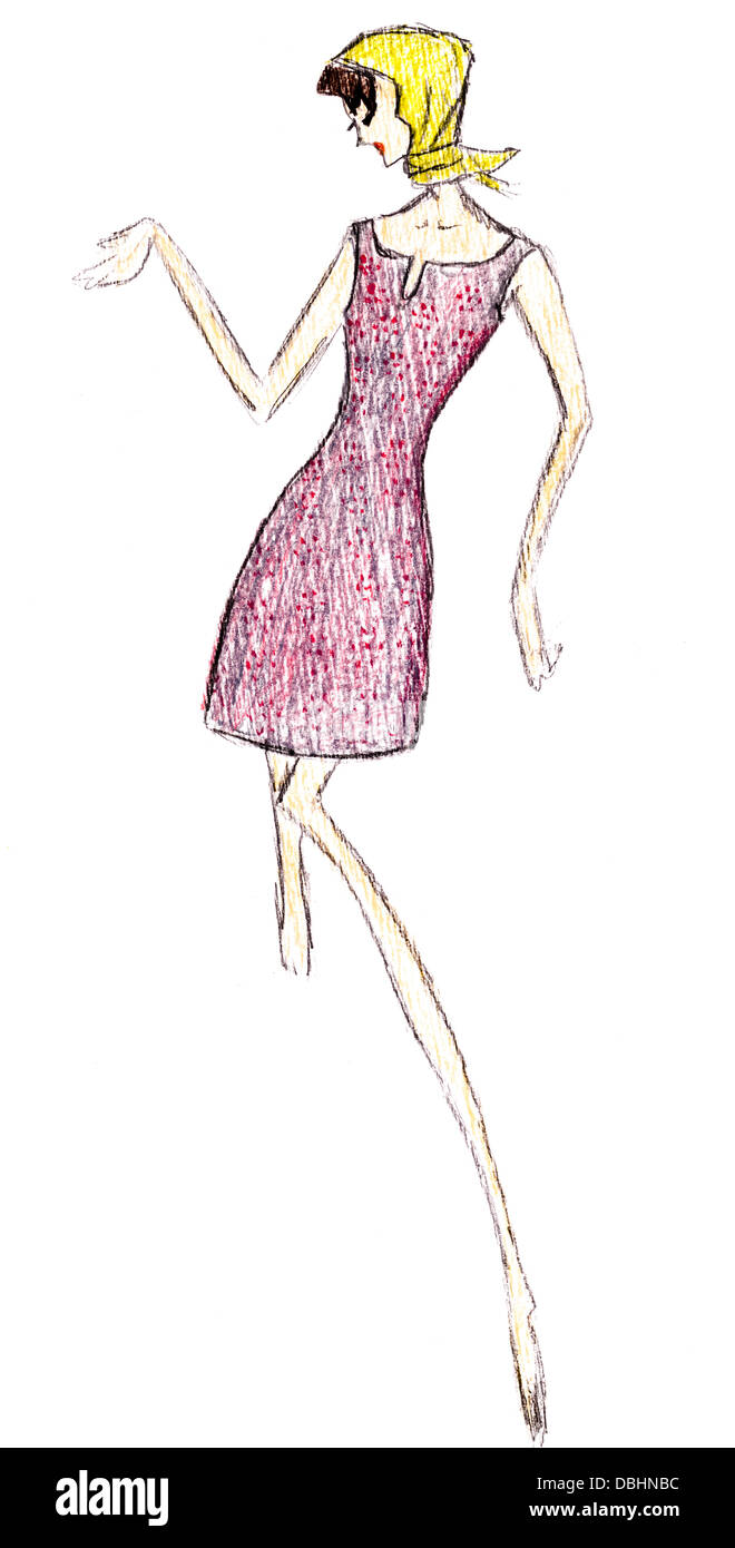 Sketch Of Fashion Model Simple Short Pink Summer Dress Mini And Stock Photo Alamy