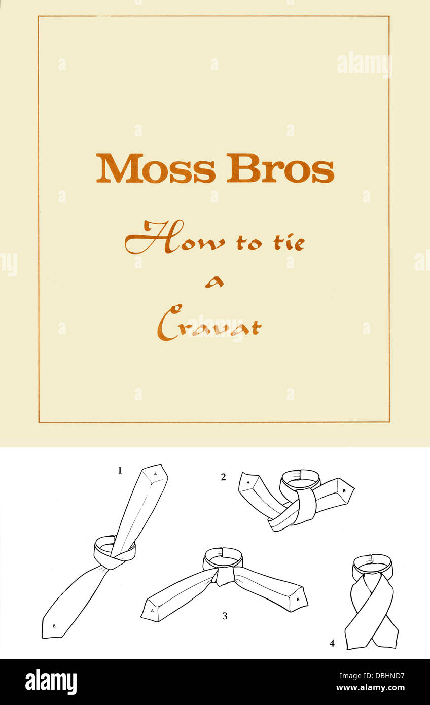 Moss Bros Instructions on How to Tie a Cravat Probably 1950s Stock Photo