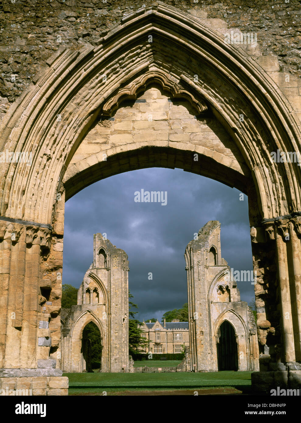 Ruined Nave Of Glastonbury Abbey Church Burial Place Of