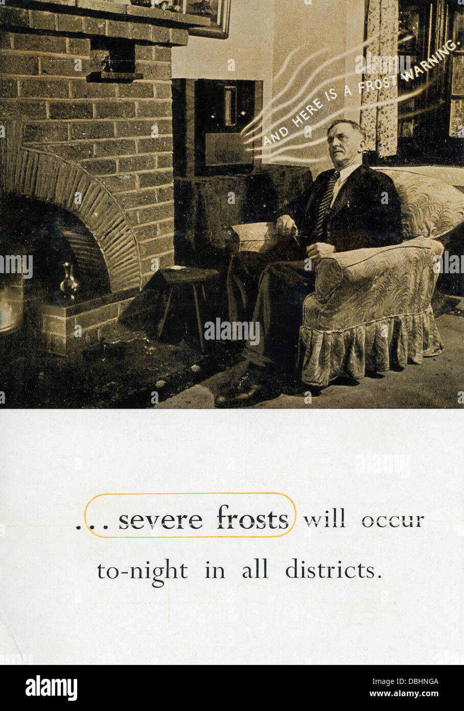 A radio warning of frost and frosts applicable to motor cars and vehicles 1950s from the Avon Insurance company Stock Photo
