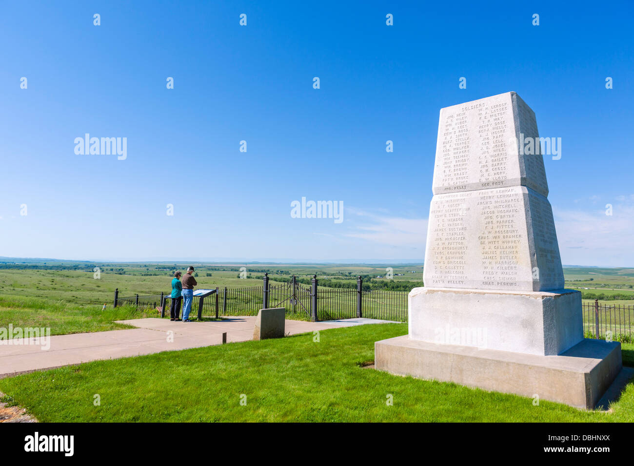 US Army 7th Cavalry Memorial on Last Stand Hill, Little Bighorn Battlefield National Monument, near Crow Agency, Stock Photo