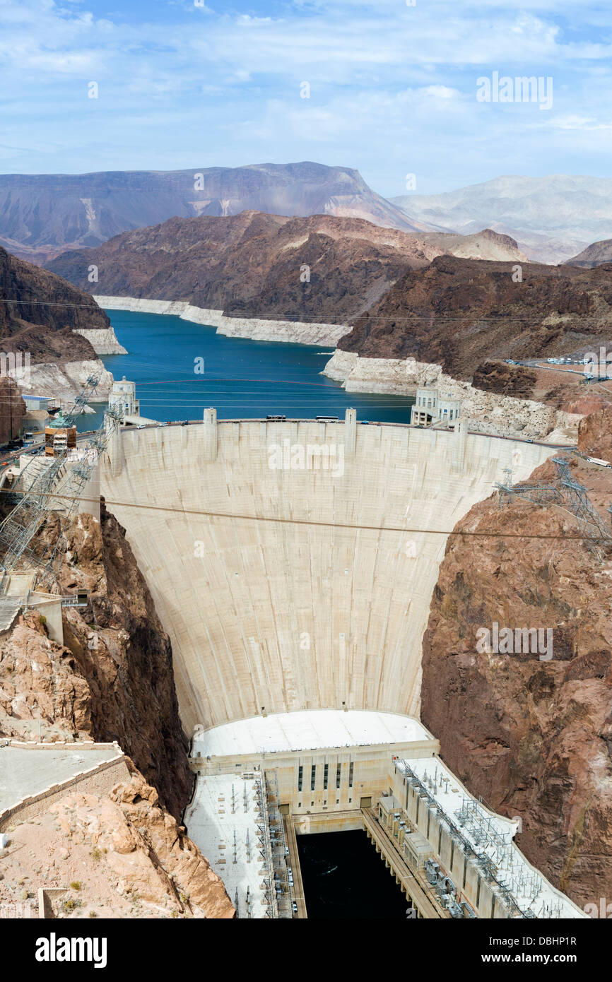 The Hoover Dam looking towards Lake Mead, Nevada / Arizona state line, USA Stock Photo