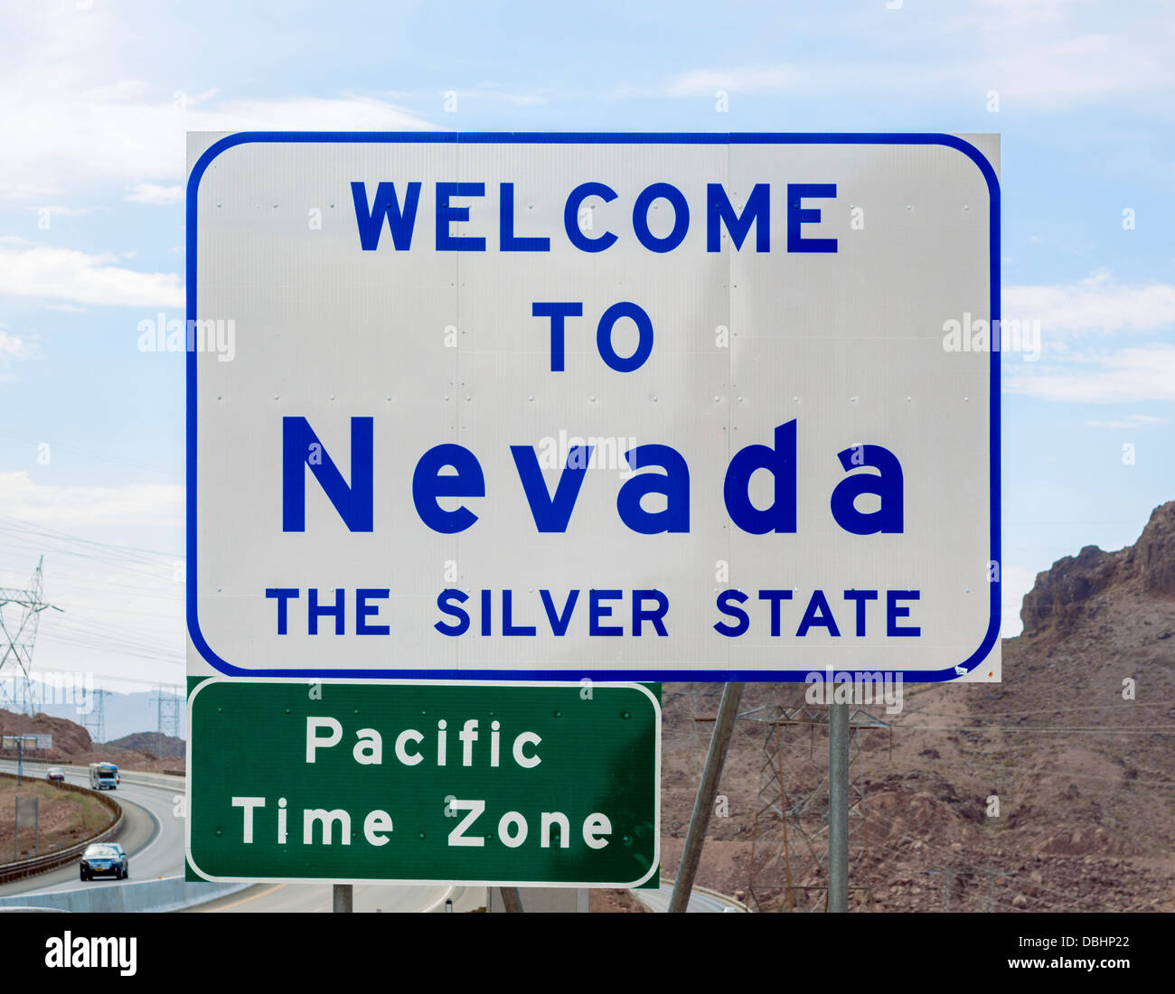 Welcome to Nevada sign, USA - Stock Image