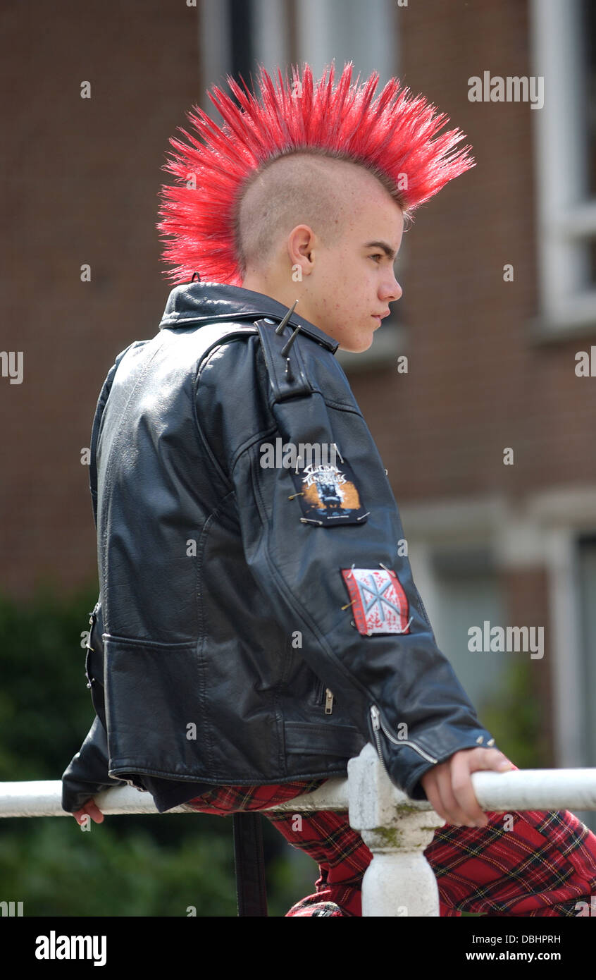 Punk Boy With A Red Mohawk Hairstyle Stock Photo 58783413 Alamy