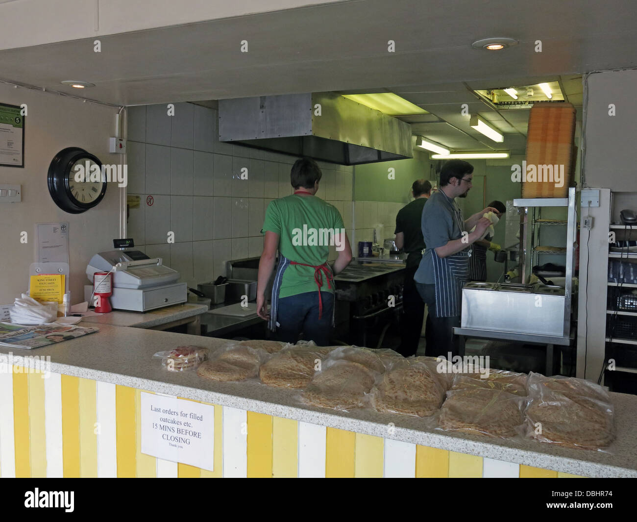 Interior of a traditional Stoke / Staffordshire Oatcake shop, with bright yellow frontage. - Stock Image