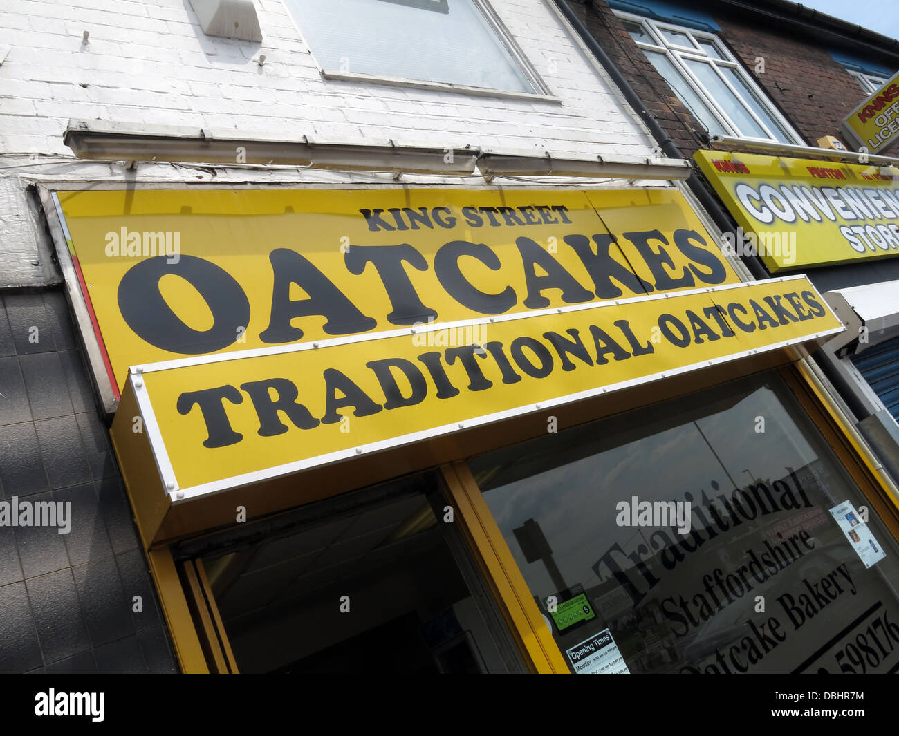 Exterior of a traditional Stoke / Staffordshire Oatcake shop, with bright yellow frontage. Stock Photo