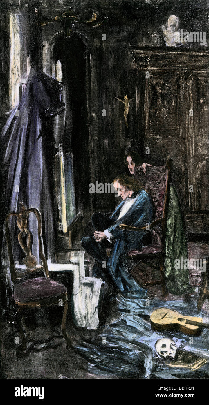 Edgar Allan Poe's 'The Fall of the House of Usher.' Hand-colored halftone reproduction of an illustration - Stock Image