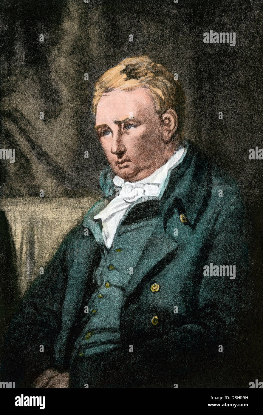 English author William Cobbett, alias Peter Porcupine. Hand-colored halftone reproduction of an illustration - Stock Image