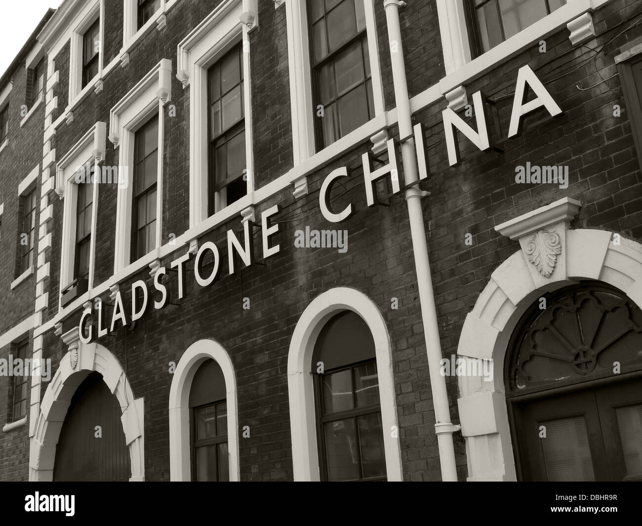 Monochrome of The Gladstone China Factory in Longton , Stoke-on-Trent , Staffordshire Potteries , English Midlands - Stock Image