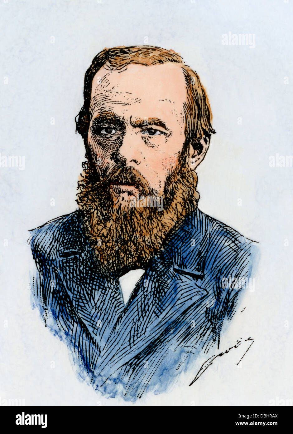 Russian novelist Fyodor Dostoyevsky. Hand-colored woodcut - Stock Image