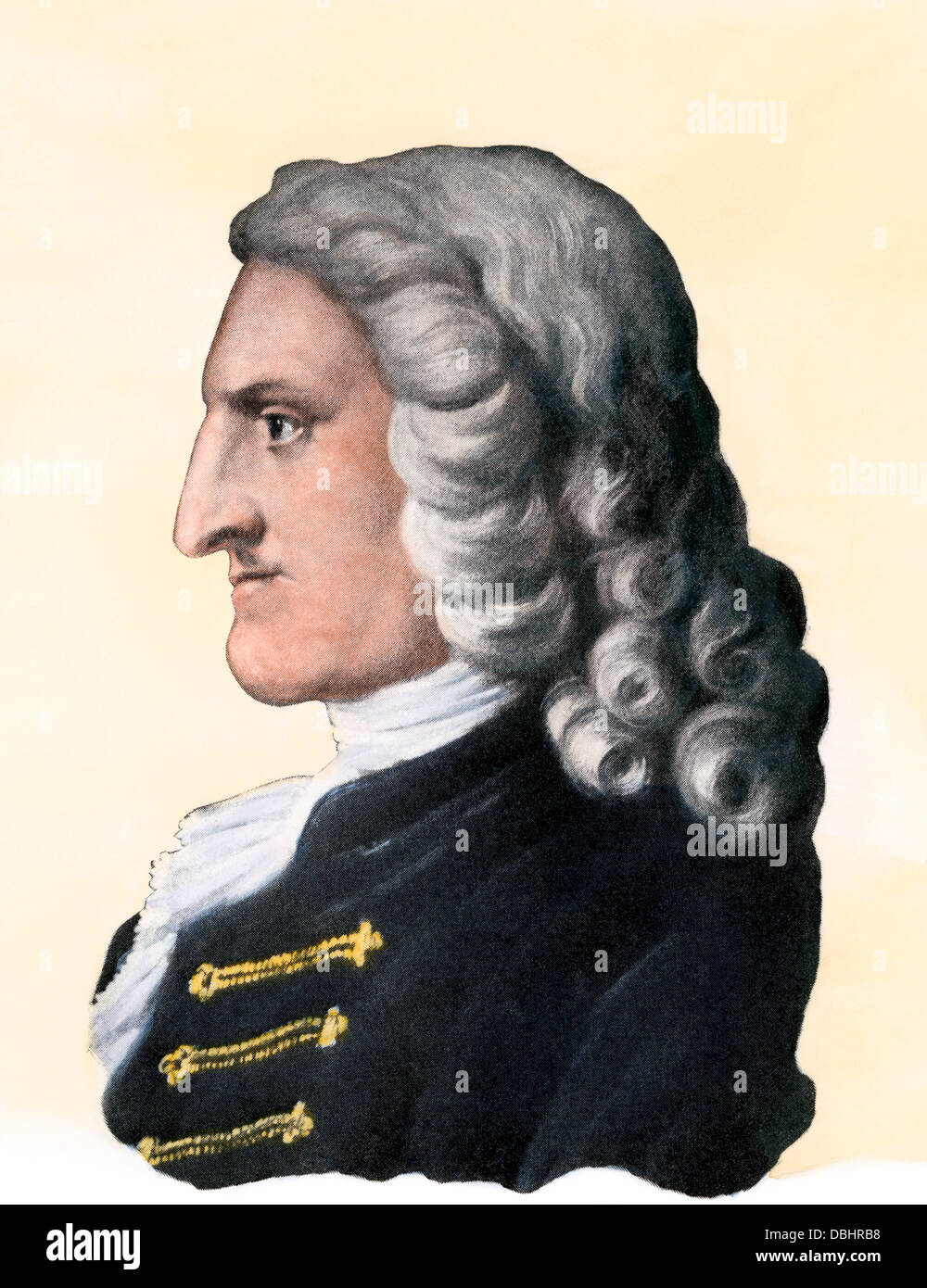 English novelist Henry Fielding. Hand-colored halftone reproduction of a portrait - Stock Image