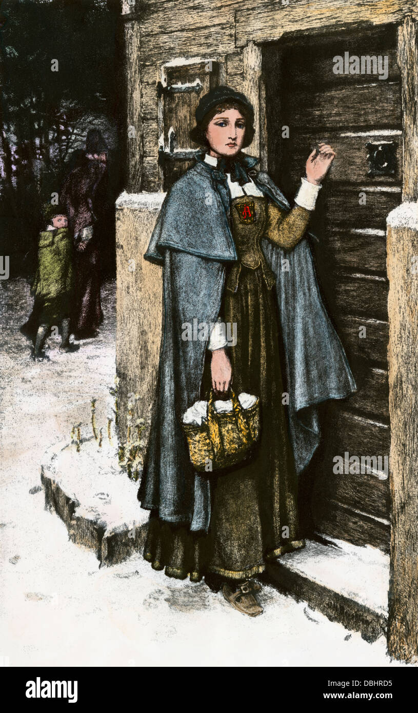 hester prynne wearing the scarlet letter from nathaniel hawthornes novel hand colored halftone reproduction of an illustration
