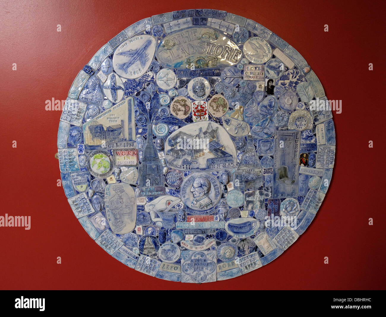 Circular pottery mosaic from Longton Stoke-On-Trent Great Britain showing potteries heritage at the Gladstone Pottery - Stock Image