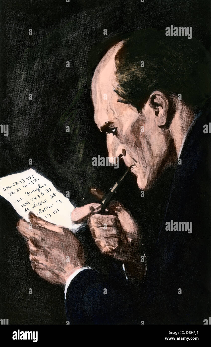 Sherlock Holmes solving a cipher, from an Arthur Conan Doyle story. Hand-colored halftone reproduction of an illustration Stock Photo