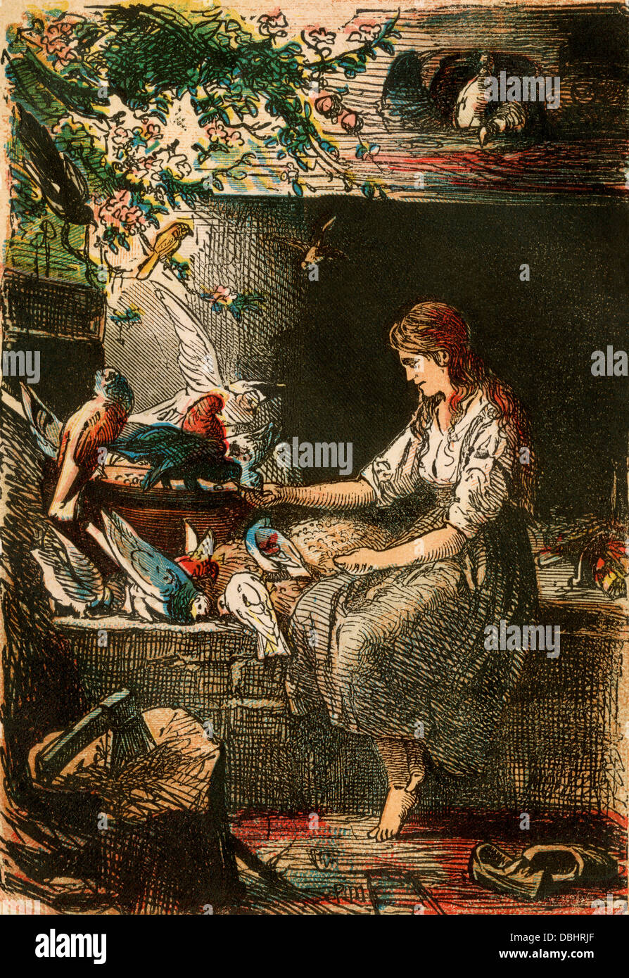 Cinderella, from a Berlin edition of Grimms' Fairy Tales, 1865. Color plate - Stock Image