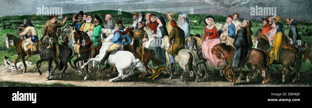 Pilgrims from a scene in Chaucer's Canterbury Tales. Hand-colored halftone reproduction of an illustration - Stock Image