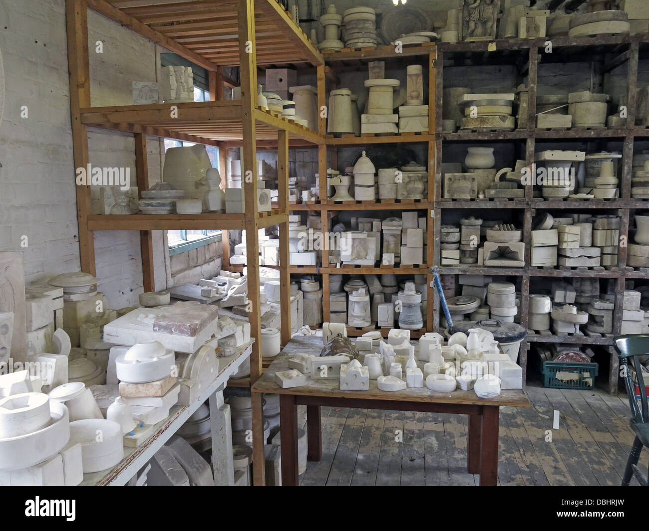 Pottery mouldroom Longton Stoke-On-Trent Great Britain showing potteries heritage at the Gladstone Pottery Museum - Stock Image