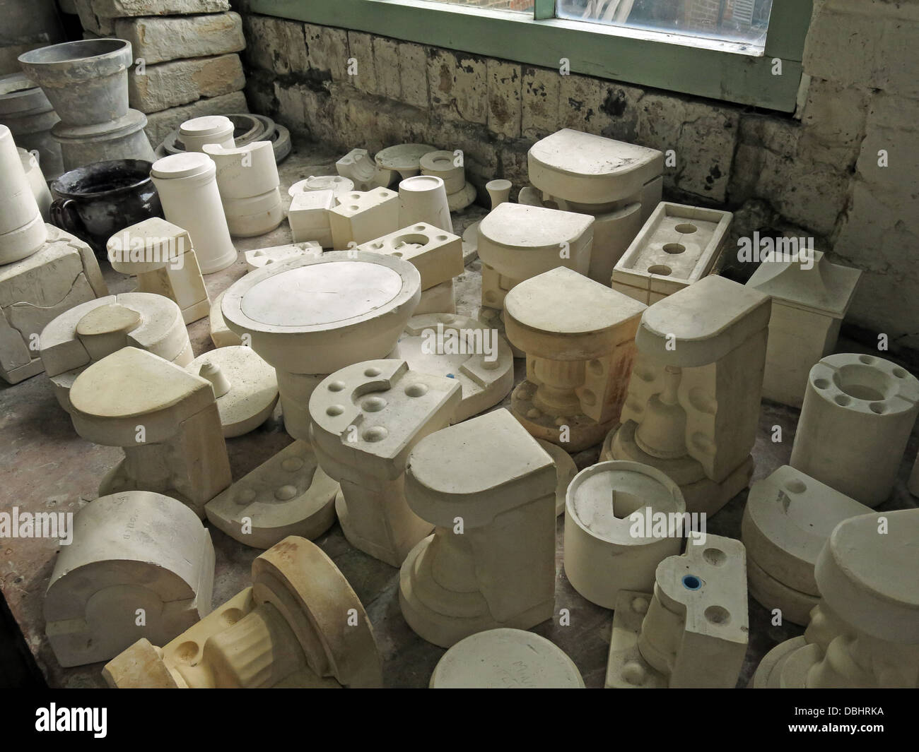 Various molds, mould room from Longton Stoke-On-Trent Great Britain showing potteries heritage at the Gladstone - Stock Image