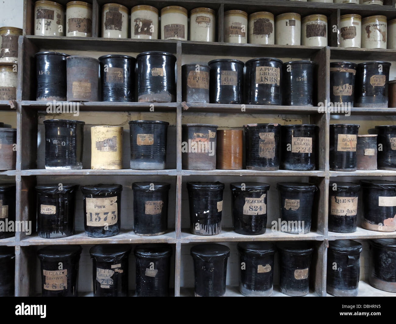 Colour glaze bottles from Longton Stoke-On-Trent Great Britain showing potteries heritage at the Gladstone Pottery - Stock Image