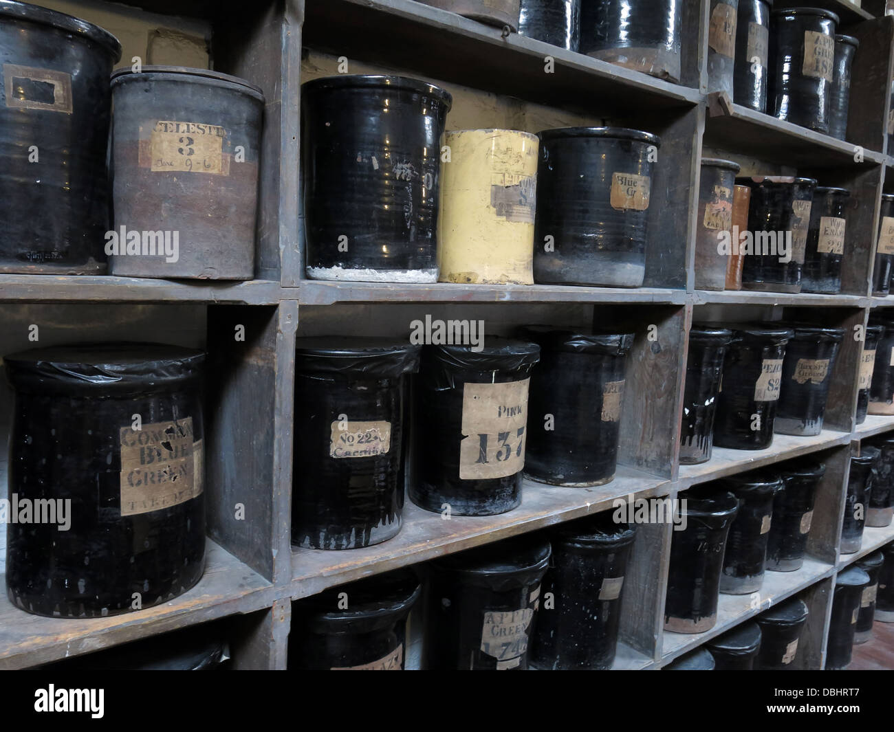 Image from colour room Longton Stoke-On-Trent Great Britain showing potteries heritage at the Gladstone Pottery - Stock Image