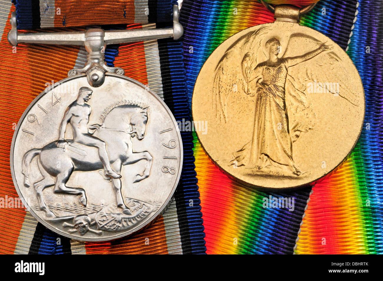 First World War British medals. Victory Medal (golden) War Medal (silver) - Stock Image