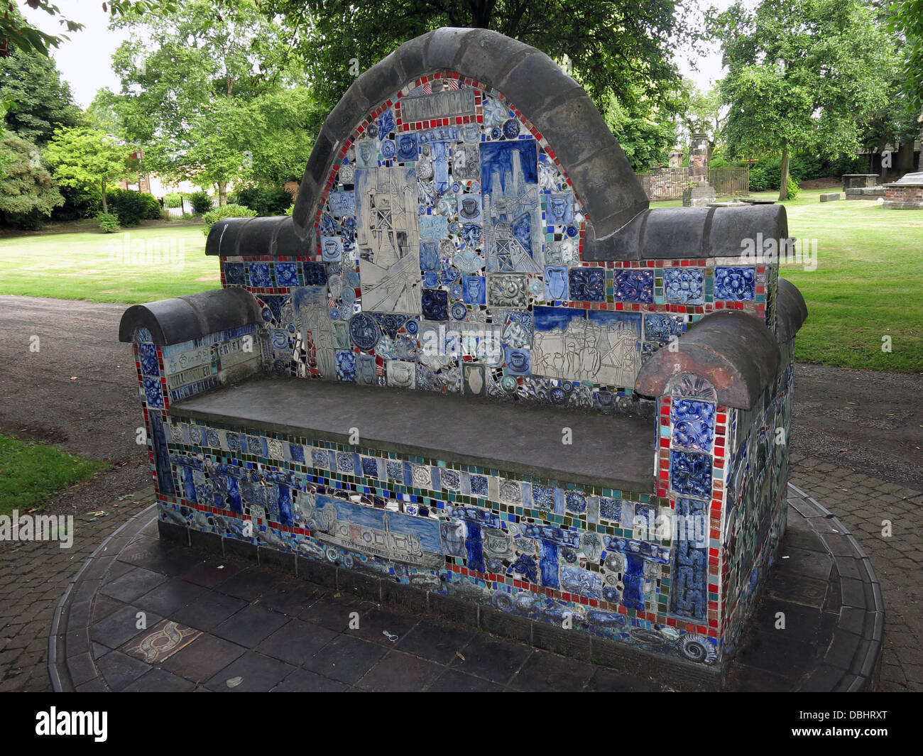 The Stoke Minster Pottery Bench - Stock Image