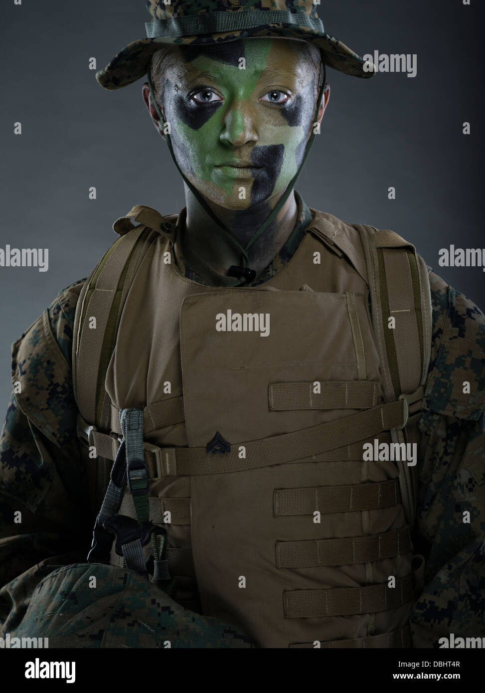 Portrait Of Female United States Marine Corps Soldier In