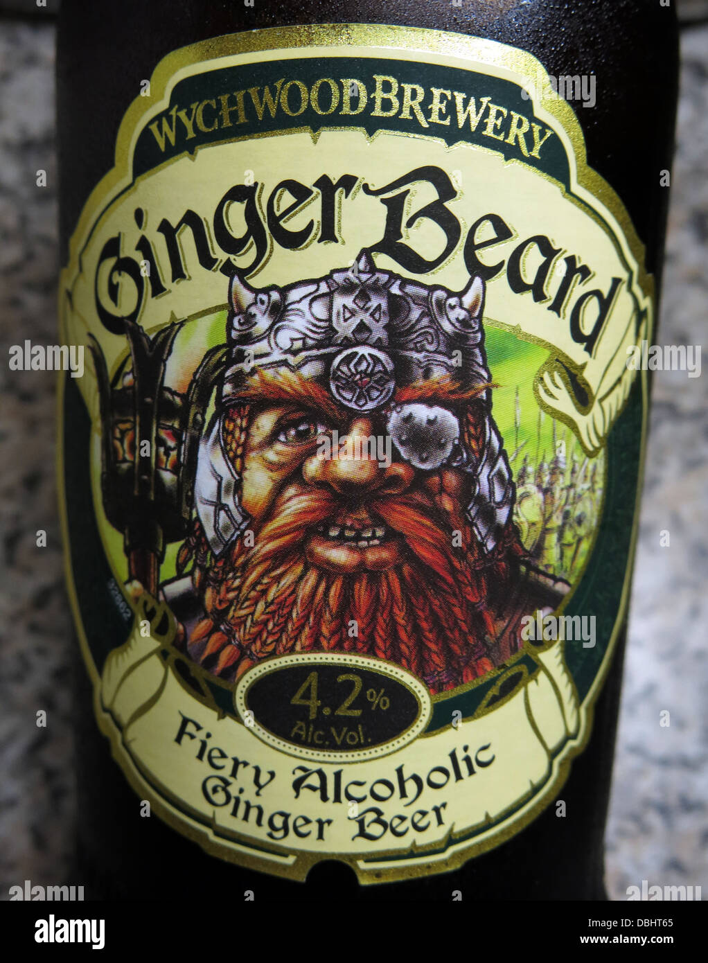 Label from the Wychwood Brewery Witney Ginger Beard , a 4.2% fiery Alcoholic ginger beer. Brewed in England , Great Stock Photo
