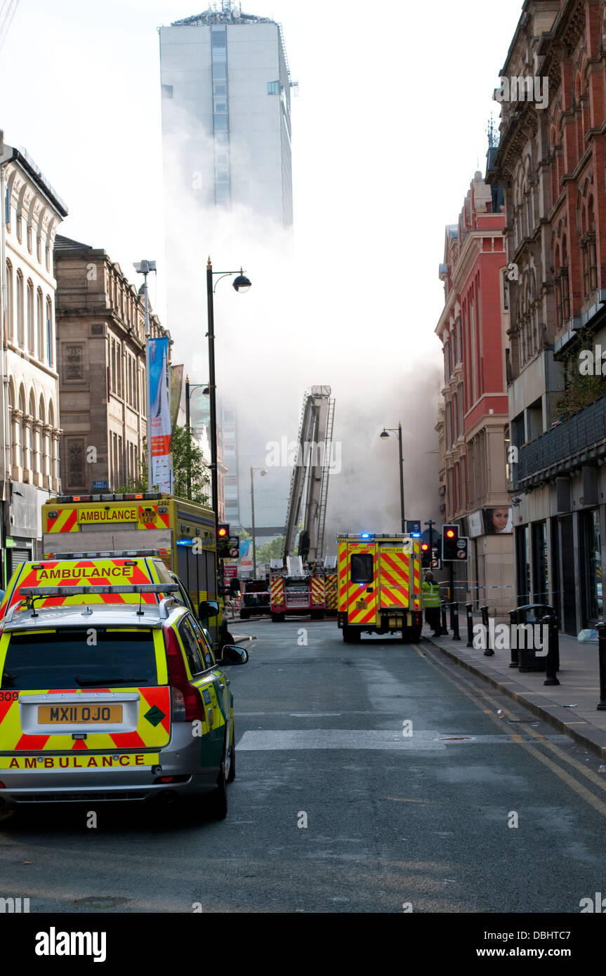 Fire in Oldham Street, Central Manchester, UK - Stock Image