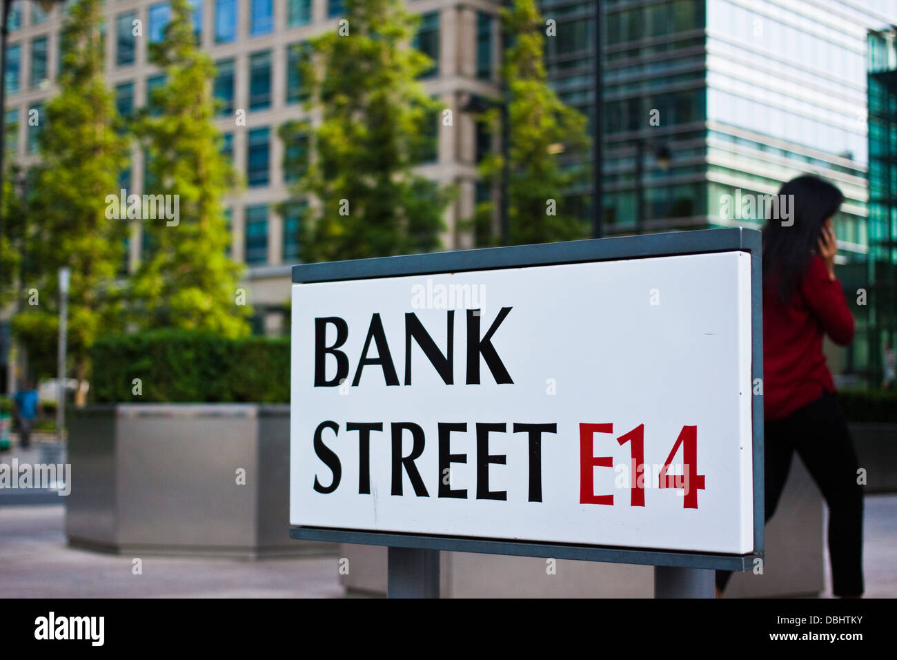 Bank street E14 road sign at Canary Wharf, Docklands London - Stock Image